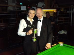Oliver Lines received trophy from Yorkshire President Derek Townend