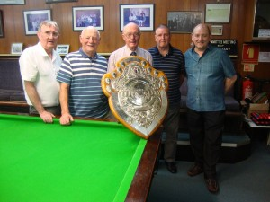 Great Horton Conservative Club players with the Moorhouse Shield team billiards trophy, from left: Aussie McGann, Terry Crawshaw, Brian Royston, Dave Western and Colin Brooksbank