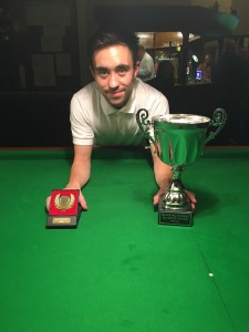 Gareth Green, who has won the Eric Hodgkinson Bradford Snooker Handicap Trophy to become the first player in Bradford to win all of the city's major snooker titles