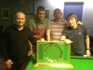 Wibsey Liberal Club A, who have won the 2014-15 E Rosse Hopkinson Trophy. From left: Mark Hirst, Tom Bell, Damian Gallagher, Ian Carradice
